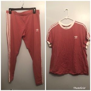 Adidas 3-Stripe Leggings and Top (Bundle)
